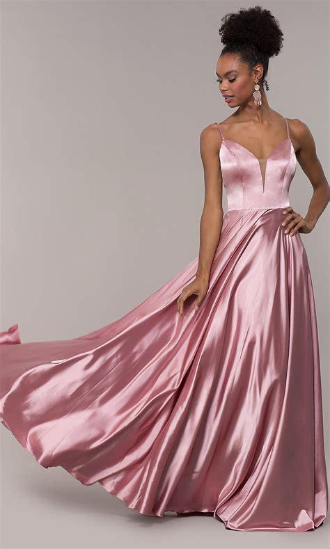 Satin Open-Back Long V-Neck Prom Dress - PromGirl