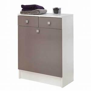 Meuble Salle De Bain Taupe : meuble bas de salle de bain avec bac linge taupe ~ Dailycaller-alerts.com Idées de Décoration