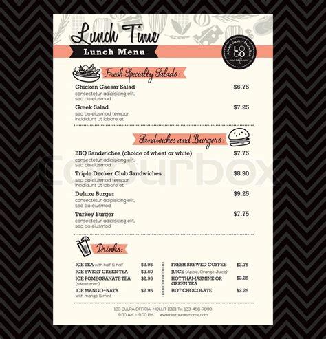restaurant lunch menu design template layout stock