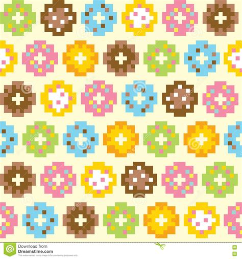 Tuto pixel art dessiner du vernis a ongles kawaii. Pixel Art Style Donut Seamless Vector Background Stock ...