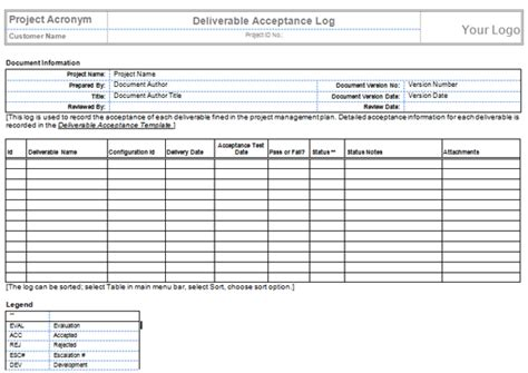 Project Deliverable Template by Quality Templates Project Management Templates