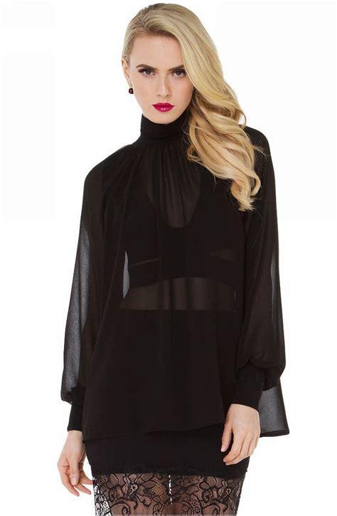 sheer chiffon blouse lantern sleeve high neck sheer chiffon blouse shirt
