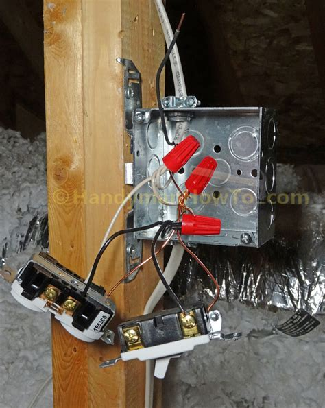 how to wire an attic electrical outlet and light junction box wiring