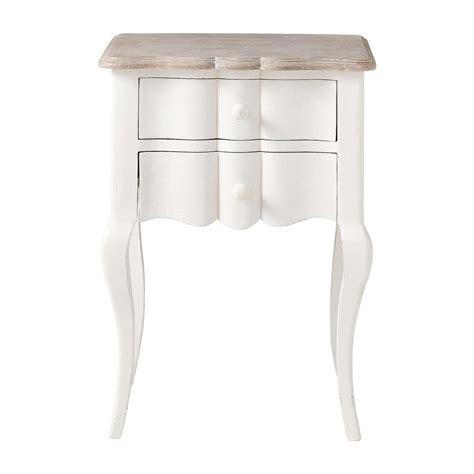 chambre romantique ado table de chevet avec tiroirs en manguier blanche l 48 cm