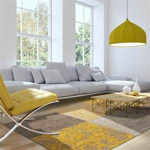 deco jaune et gris With tapis shaggy avec canapé 2 places moutarde