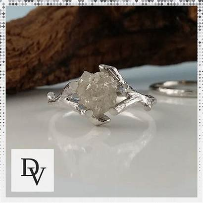 Ring Diamond Raw Engagement Twig Rough Promise