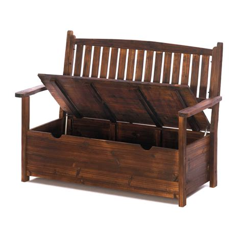 Storage Bench Seat With Back by Garden Bench Patio Outdoor Furniture Seat Yard Deck Porch
