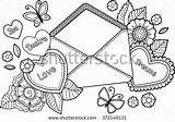 Coloring Adult Shutterstock Valentines Letter Letters sketch template