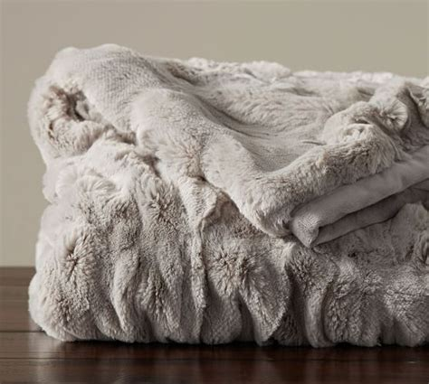 pottery barn fur blanket ruched faux fur throw gray pottery barn