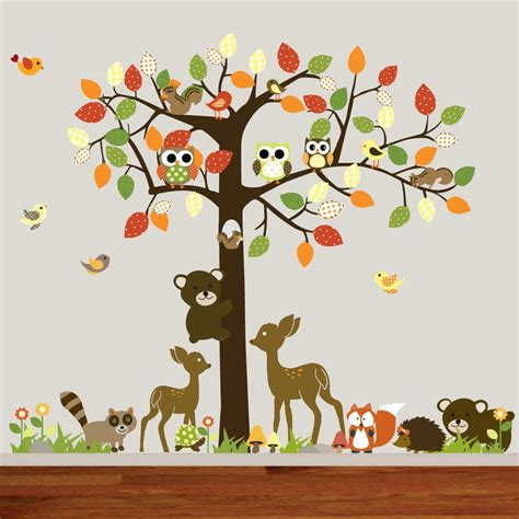 FOREST ANIMALS Vinyl Nursery Wall Decal Forest Tree