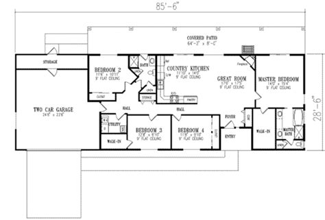 Ranch Style House Plan 4 Beds 2 Baths 1720 Sq/Ft Plan #1 350
