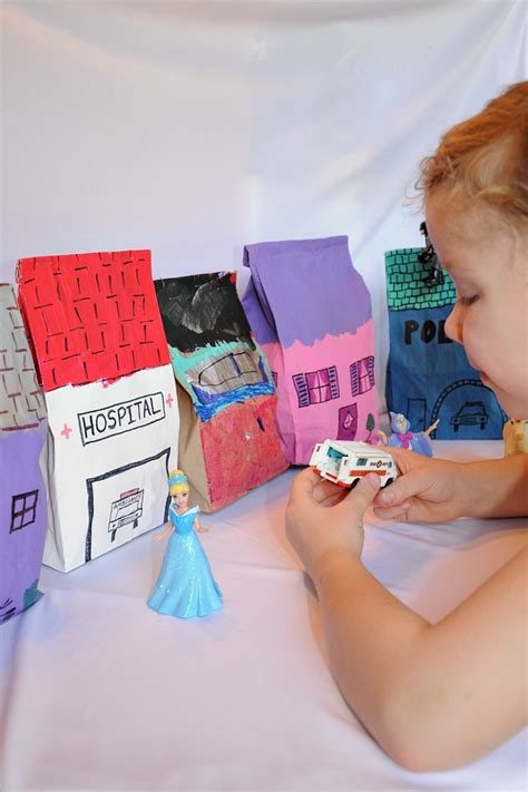 dramatic play time   pretend city  paper bags