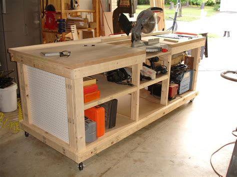 table saw workbench woodworking plans workbench with inset areas for miter table saw diy