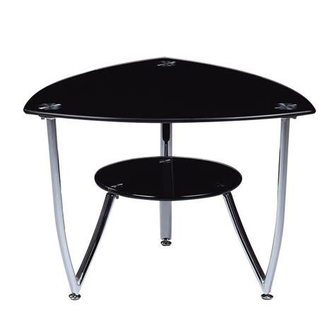 black glass end table global t601 triangular black glass end table w chrome