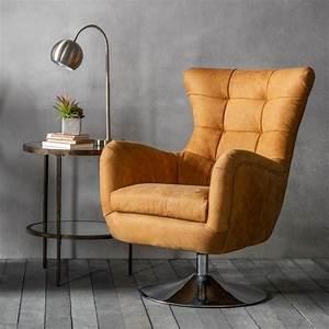 Modern, Leather, Swivel, Chair, Saddle, Tan