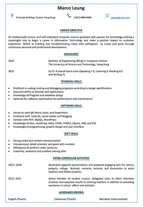 resume cv sample  fresh graduate jobsdb hong kong