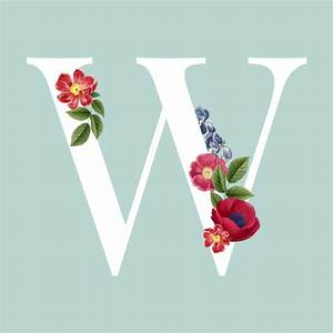 Floral capital letter w alphabet vector Vector | Free Download