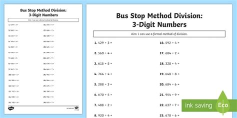 bus stop method formal division of 3 digit numbers worksheet worksheet