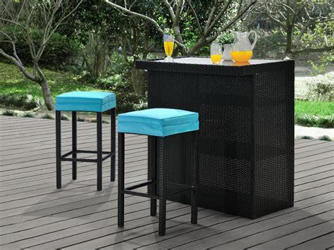 canape resine tressee exterieur bar et 2 tabourets de jardin mambo en résine tressée