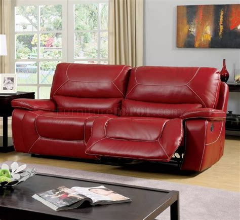 Newburg Reclining Sofa Cm6814rd In Red Leather Match Woptions
