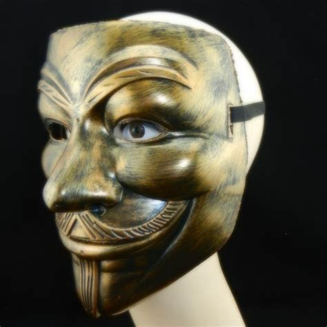antique copper  mask vendetta mask guy fawkes scary fancy dress hip hop dance costume cosplay