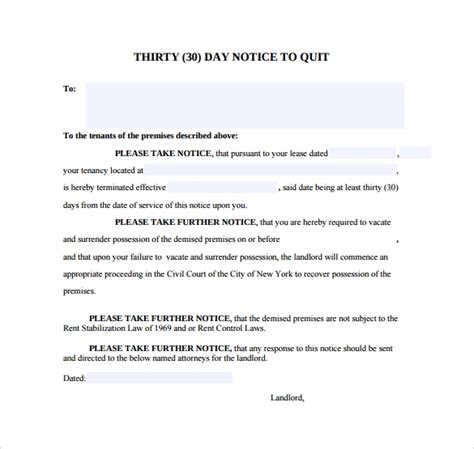 sample  day notice template   documents