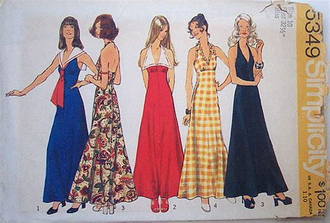 Style In Simplicity [Visualized] : Simplicity 5349 Vintage 70s Sewing Pattern Halter Maxi Dre