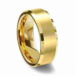 gold brushed finish tungsten carbide wedding ring With brushed beveled edge wedding ring