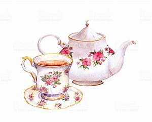 Tea Cup And Teapot With Flowers Watercolor Stock ...