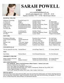 theatre resume exle headshot resume elizabeth powell