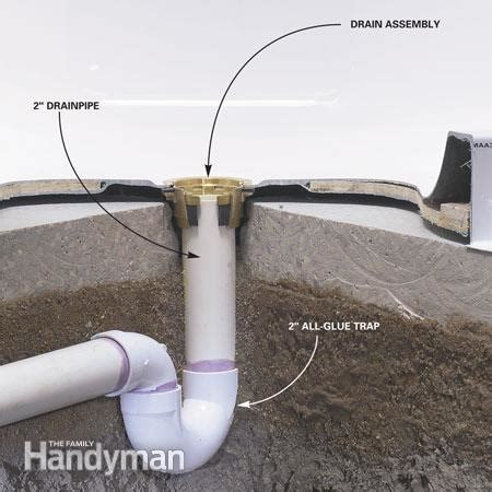 shower drain plumbing how to install a fiberglass base concrete the