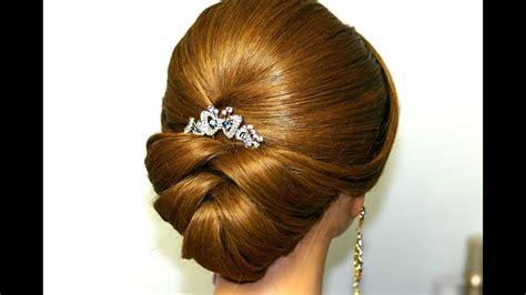 bridal updo wedding hairstyle  medium long hair youtube