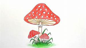 How to draw Mushroom step by step ||very easy|| - YouTube