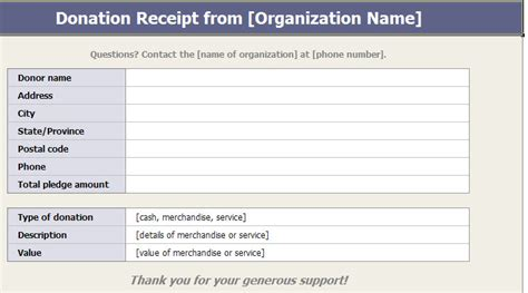 Donation Receipt Template Charitable Donation Receipts Template Donation Receipt