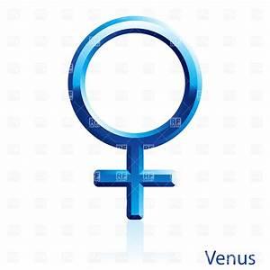 Shiny blue Venus sign on white background Vector Image ...