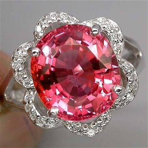 ring with orange and pink padparadscha sapphire 8 28ct catawiki