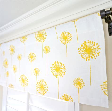 yellow grey white window treatment nursery valance panel