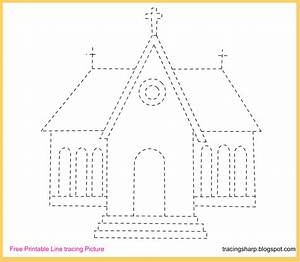 Free Tracing Line Printable: Church Tracing Picture  Tracing