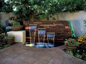 15 unique garden water features hgtv for Backyard water fountains