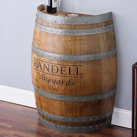 half wine barrel table reclaimed half barrel table personalized wine enthusiast