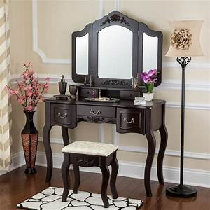 Fineboard, Vanity, Set, Beauty, Station, Makeup, Table, And, Wooden, Stool, Set, With, 3, Mirrors, And, 5