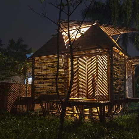 bamboo toilet block  hp architects  covered  plants