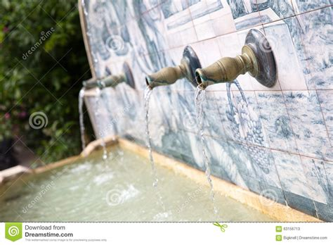 Water Coming Out Of Pipes In A Fountain Stock Image
