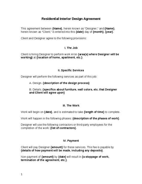 letter  agreement interior design template