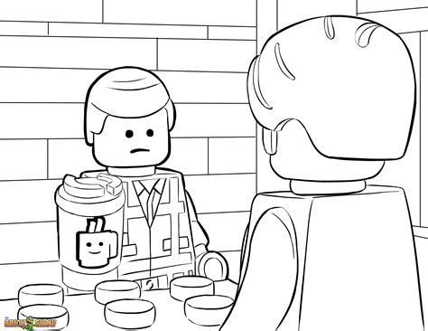 lego  coloring page lego emmet orders  coffee