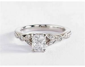 petite vintage pave leaf diamond engagement ring in 14k With white wedding ring
