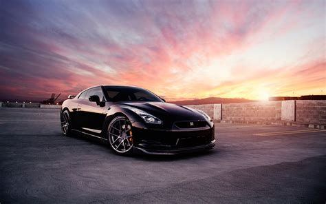 Car Sunset Wallpaper by Nissan Gt R Black Car At Sunset Wallpaper Cars