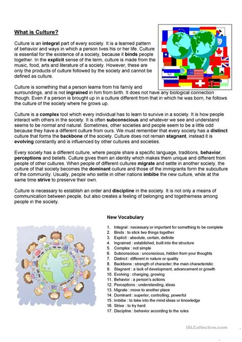 What Is Culture Worksheet  Free Esl Printable Worksheets Made By Teachers