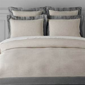 chambers italian washed linen border bedding flax With chambers bedding