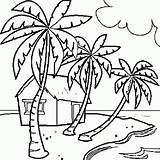 Coloring Summer Paradise Beach Drawing Pages Drawings Line sketch template